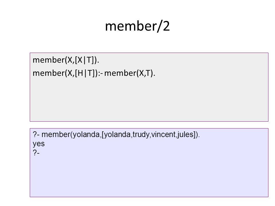 member/2 member(X,[X|T]). member(X,[H|T]):- member(X,T).